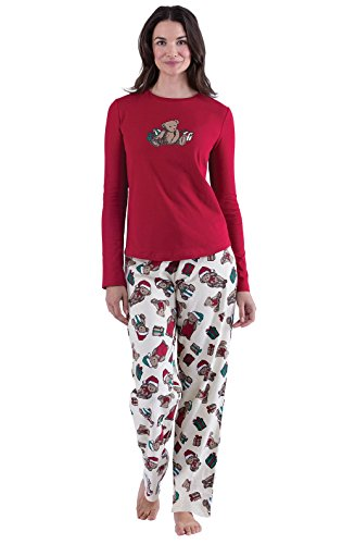 PajamaGram Vermont Teddy Bear Christmas Women's Pajama Set, Red, Med (8-10)