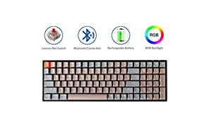 Keychron K4 Mechanical Keyboard, Wireless Mechanical Keyboard with RGB Backlight/Gateron Red Switch/Wired USB C / 96% Layout, Bluetooth Gaming Keyboard for Mac Windows PC Gamer