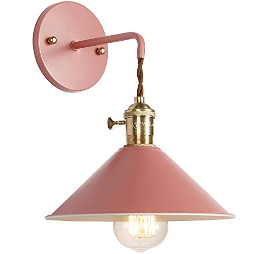 iYoee Wall Sconce Lamps Lighting Fixture with on Off Switch,Cherry Blossom Pink Macaron Wall lamp E26 Edison Copper lamp Holder with Frosted Paint Body Bedside lamp Bathroom Vanity lightsity Lights ()
