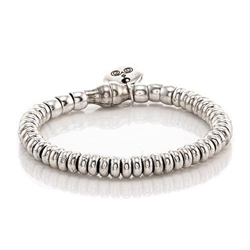 Trades by Haim Shahar Janelle Leather Bracelet handmade in Spain magnetic closure sterling silver plated beads, designer ()