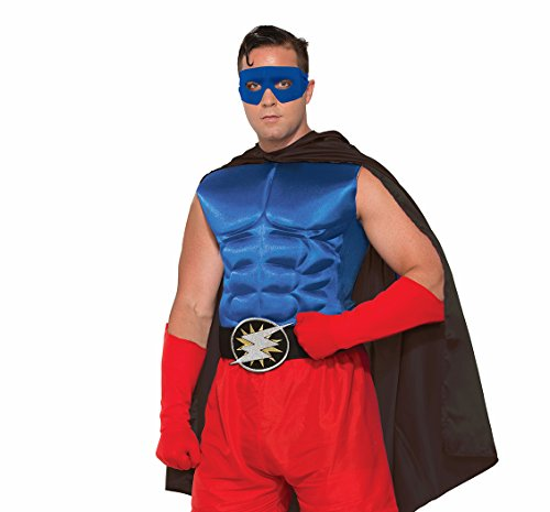 Male Superhero And Villain Costumes (Adult's Blue Superhero Or Villain Muscle Chest Padded Shirt Costume Accessory)