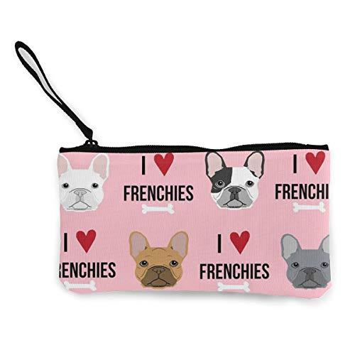 - XUJ YOGA Women Girls Teens Tees I Love French Bulldogs Canvas Smartphone Wristlets Cash Coin Purses Make Up Bag Cellphone Clutch Purse with Wrist Strap