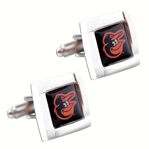 - Baltimore Orioles MLB Sports Fan Team Logo Square Engraved Design Mens Shirt Cufflinks Gift Box Set