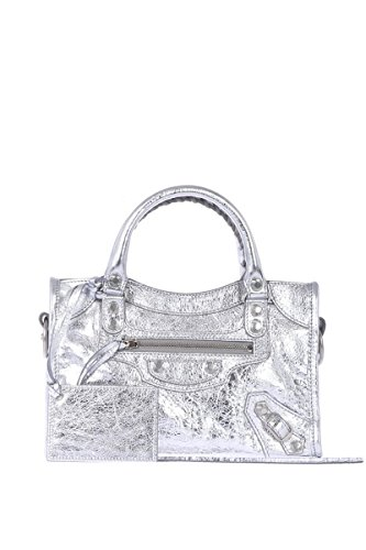 Balenciaga Women's 3002950GTJ21460 Silver Leather Handbag