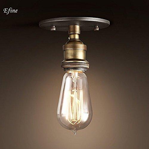 EFINEHOME Efine 1 Light Simplicity Ceiling Lamp Lofe Vintage Edison Factory Filament Bare Bulb Ceiling Porch Lights Antique Brass