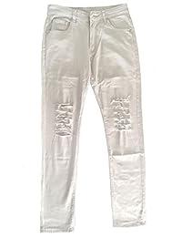 Jinmen Mens Slim Fit Black Ripped Skinny Destroyed Denim Jeans
