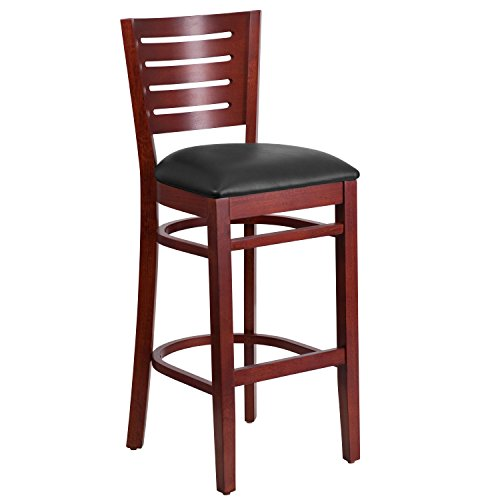 Flash Furniture Darby Series Slat Back Mahogany Wood Restaurant Barstool - Black Vinyl Seat Beechwood Slat Back Kitchen Chair