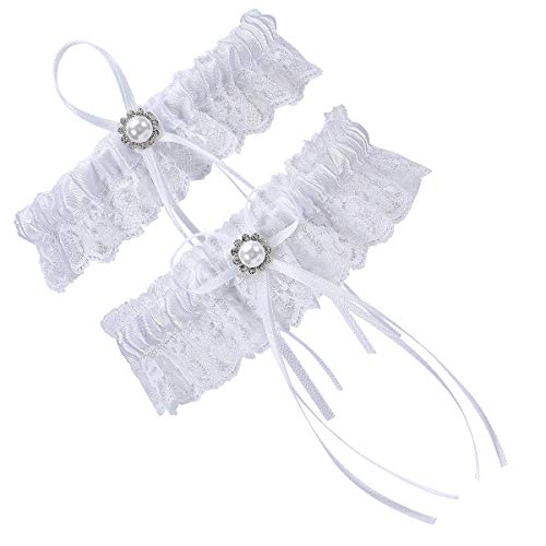 Wedding Dress Garter - Cosweet 2 Pcs Lace Wedding Bridal Garter Set- Stretchy Bridal Garters with Rhinestone Satin Bow for Bride Accessories Dress (Bows)