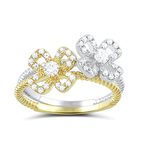 Two Tone Sterling Silver Cz Stackable Flower Ring Size 4-9