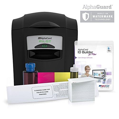 Complete AlphaCard ID Card Printer Bundle: AlphaCard Pilot ID Printer, AlphaCard ID Software, ID Supplies (Complete Mac Compatible Bundle, Pilot Printer) ()