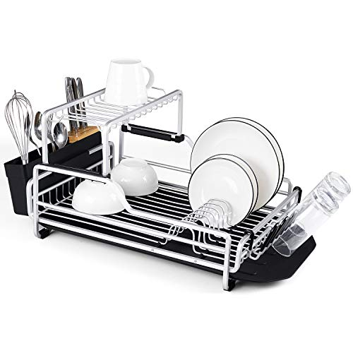 Glotoch Aluminum Dish Drying Rack with Removable Drainer tray, 2 Tier Dish Rack, Cup Holder and Dish Drainer for Kitchen Counter Top, 23 x 13.5 x 11 inch (Two Tier Dish)