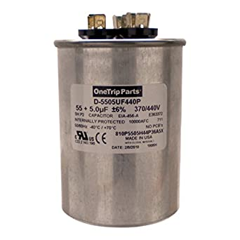 OneTrip Parts USA Run Capacitor 55+5 UF 55/5 MFD 370 VAC / 440 VAC 2-1/2