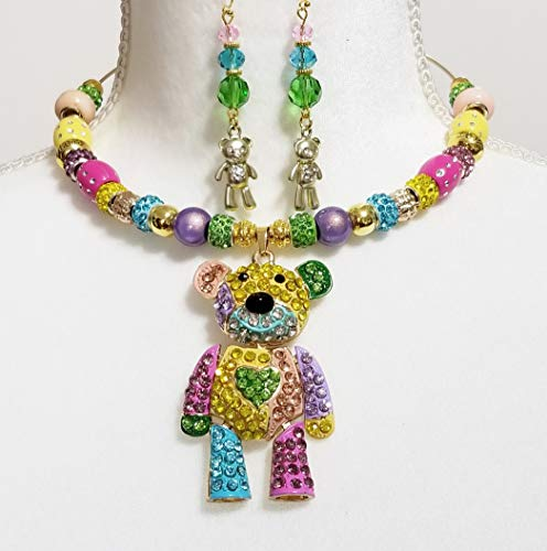 - Crystal Enamel Sparkly Necklace Earrings Betsey Johnson Bear One of a Kind