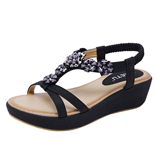 (Mysky Summer Women Popular Bohemian Lovely Crystal Flower Criss Cross Striped Belt Comfy Wedge Sandals Black )