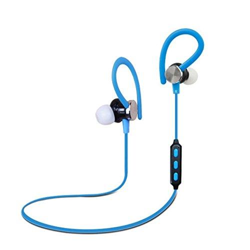 Price comparison product image Dreamyth Mini Wireless Bluetooth 4.1 In-Ear Ear Hook Earphone Sweatproof HandFree Sport Stereo Earbuds Headset with Mic (Blue)
