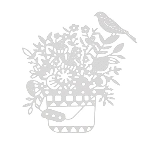 Cutting Dies,Pollyhb Metal Cutting Dies Stencils Scrapbooking Embossing DIY Crafts,Flower Rectangle Round Egg Forest Dog Bird Wedding,for Card Making Scrapbooking (H:86x100mm)