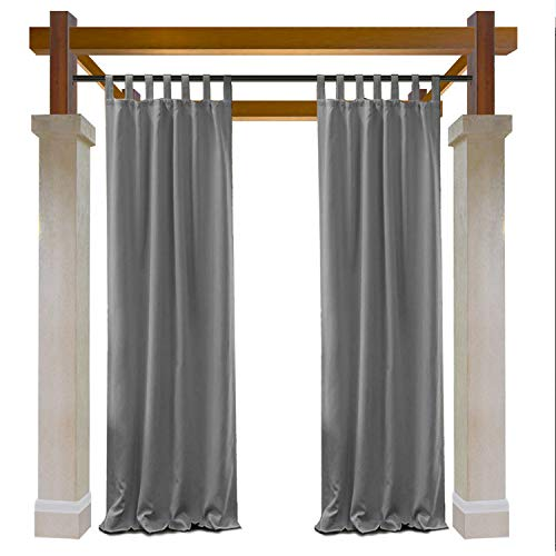 Macochico Extra Long Elegant Curtain Panels Outdoor Indoor for Home Decoration Privacy Protection Heat Insulated Dustproof Windproof Gray Tab Top Draperies 84W x 120L (1 Panel)