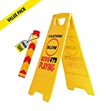 Kid Playing Caution Sign – Children Safety Slow Road Yard Sign - Double Sided Sign is Bundle with Reflective Tape