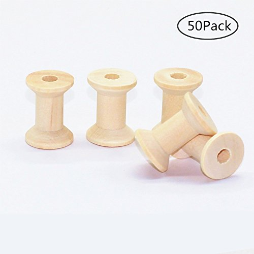 TANG SONG Unfinished Mini Wooden Spools Wood Spools, Thread Bobbin Cord Wire Sewing 1.1''x0.8''(Pack Of (Mini Wooden Spool)