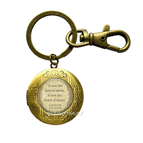 Time Book Locket - It was The Best of Times It was The Worst of Times A Christmas Book Locket Keychain,Inspirational Quote Locket Keychain, Motivational Quote, Locket Key Ring, Gift Ideas,ot339 (A2)