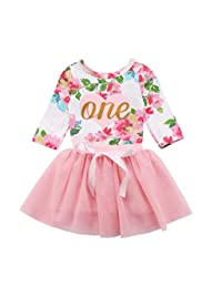 Karuedoo Baby Girl 1st Birthday Outfit Long Sleeve Floral Romper Top Lace Tutu Skirt Outfit Clothes