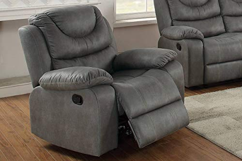 - Modern Slate Grey Breathable Leatherette Motion Rocker Recliner Chair