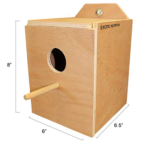 Wood Nest Box with Cage Attachment, Hinged Lid, Perching Ledge - for Sugar Glider, Squirrel, Rat, Degu, Finch, Parakeet, Lovebird, Parrotlet, Lovebird, Canary, Cockatiel, Other Birds & Small Pets
