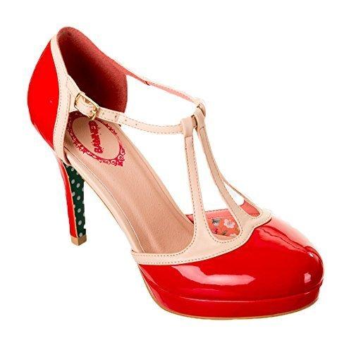 Rockabilly Days 50s Dancing Zapatillas Tacones Apparel Rojo Vintage Banned Estilo Betty Aq8EwwX