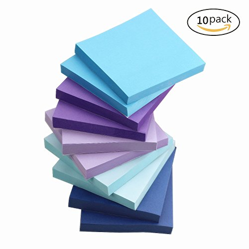 ZZTX Sticky Notes Assorted Watercolor Self-Stick Notes 10 Pads/Pack 100Sheets/Pad 3 inch X 3 inch Easy Post - Sticky Issue Is (Purple Post)