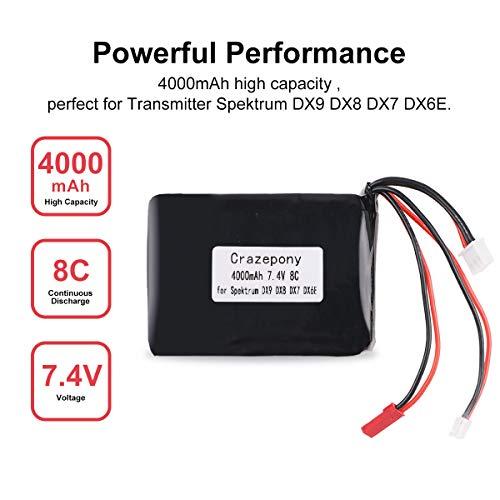 Crazepony 4000mAh 2S Lipo Battery 8C/16C 7.4V JST JR Plug Balancer Connector Transmitter Battery for Spektrum DX9 DX8 DX7 DX6E ()