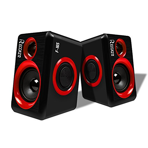 Surround Computer Speakers With Deep Bass USB Wired Powered Multimedia Speaker for PC/Laptops/Smart Phone RECCAZR Built-in Four Loudspeaker Diaphragm(Blue) (RED) - Multimedia Pc Laptop