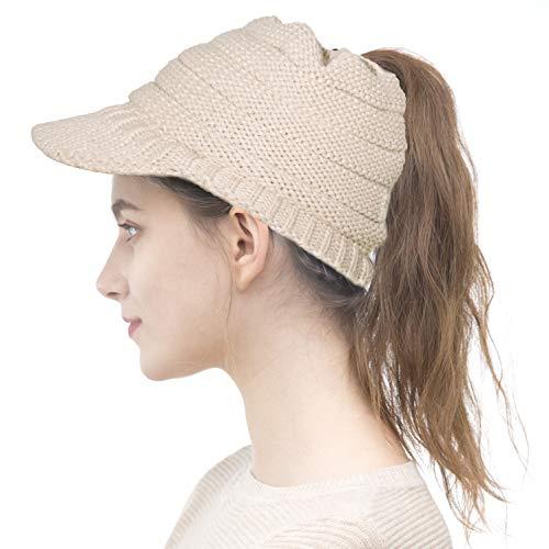 ELLEWIN Women Ponytail Beanie Hat with Visor Winter Knit Messy Bun Beanie Cap