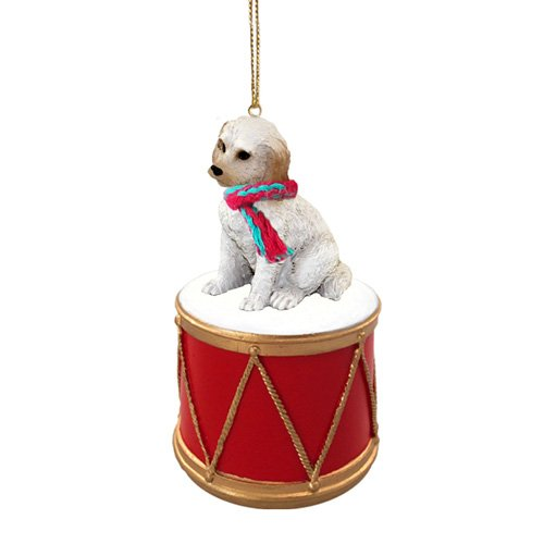 Little Drummer Labradoodle Cream-Blonde Christmas Ornament - Hand Painted - Delightful by Animal Den
