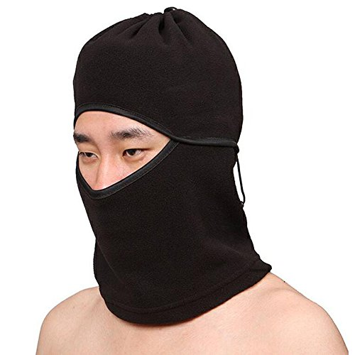 Ezyoutdoor Black Ultimate Thermal Retention & Moisture Wicking with Performance Polyester & Spandex Construction Fleece Balaclava Outdoor Sports Face Mask for Skiing Snowboarding Riding Outdoor Sports