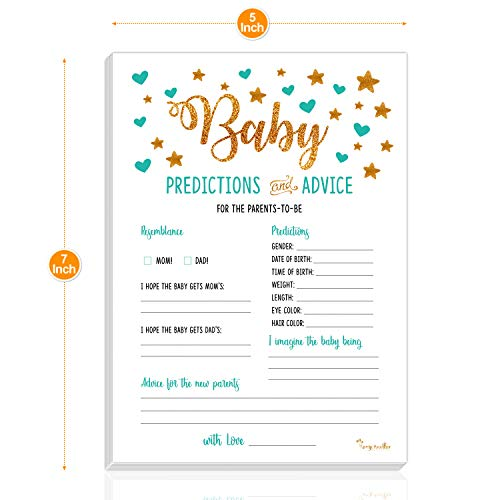 Baby Shower Decorations Kit Gold | Gender Neutral Boy or Girl | 75-in-1 Oh Baby Party Banner, Star Garland, Mom-to-Be Sash, 50 Predictions Advice Game Cards, 20 Latex Gold Balloons | PartyHooman by PartyHooman (Image #5)