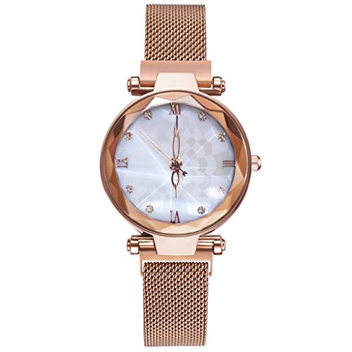 Bravetoshop Women Watches,Ladies Starry Sky Dial Simulated Diamond Wrist Watches (Rose Gold)