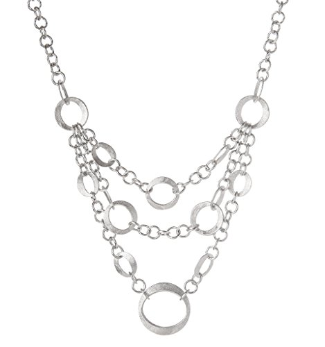 (Rivka Friedman White Rhodium Clad Cascading Multi-Layer Bib Necklace)