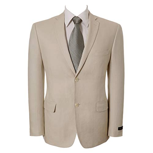 P&L Men's Slim Fit Two Button Linen Blazer Suit Jacket Beige