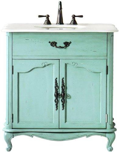 Provence Single Sink Bath Vanity, 35Hx33Wx22D, BLUE (Bath Vanity Provence)
