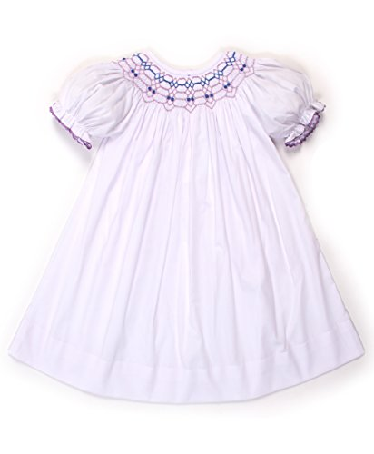 Babeeni Baby Girls Smocked Bishop Dress with Geometric Pattern (White Smocked Bishop)