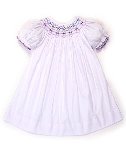 Babeeni White Smocked Dress With Geometric Smocked Pattern Girl Bishop (12M) (Smocked Dress Baby White)