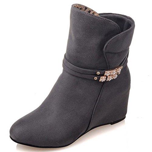 Damen Stiefeletten Schuhe Keilabsatz Grau LongFengMa wvq0UF8nq