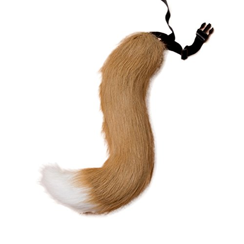 JTENGYAO Unisex Faux Fur Fox Tail For Adult Cosplay Costume Halloween Party,Camel White,One Size