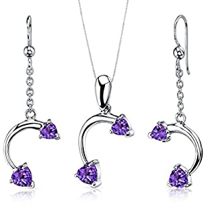 Peora Amethyst Pendant Earrings Necklace Sterling Silver Heart Shape Duet 2.25 Carats