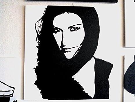 Laura pausini quadro moderno pannello legno mdf dipinto a mano pop