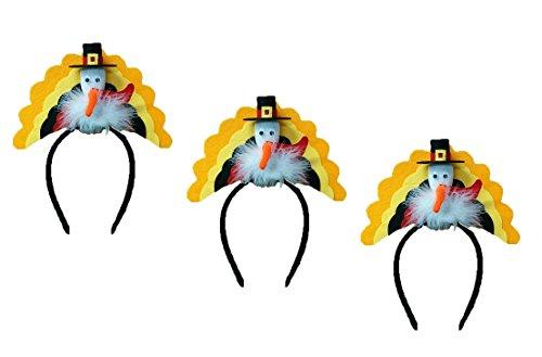 Nicky Bigs Novelties Thanksgiving Pilgrim Turkey Trot Headband, (Pack of 3), Multicolor, One Size]()