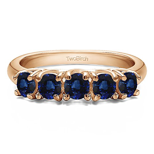 (10k Rose Gold Sapphire .5 CT Sapphire Five Stone Trellis Set Ring (Size 3 To 15 1/4 Size Interval))