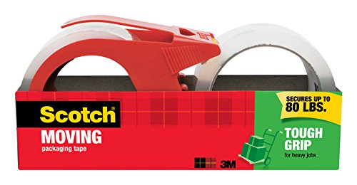 Scotch Tough Grip Moving Packaging Tape, 1.88 in. x 54.6 yd., 1 Dispenser and 1 Refill Roll/Pack