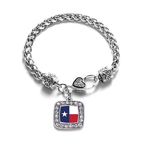 Texas Flag Charm - Inspired Silver - Texas Flag Braided Bracelet for Women - Silver Square Charm Bracelet with Cubic Zirconia Jewelry