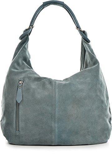 CNTMP - bolso para señora, bolsos hobo, bandoleras, bolsos de tendencia, gamuza, bolso de cuero, din-a4, 44x36x4cm (l x an x a) Azul claro